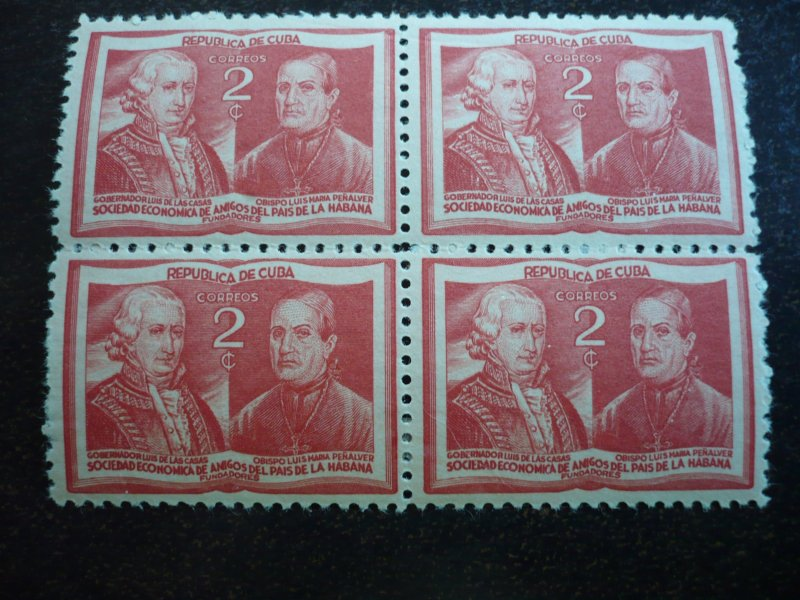 Stamps - Cuba - Scott# 394-395 - Mint Hinged Set of 2 Stamps in Blocks of 4