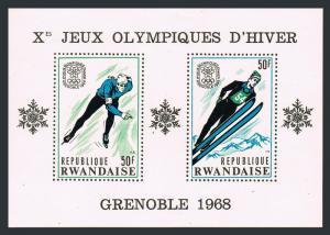 Rwanda 249-249c sheets,MNH.Michel Bl.11-12. Olympics Grenoble-1968.Ski jump,