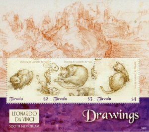 Tuvalu 2019 MNH Leonardo Da Vinci Drawings 500th Memorial 3v M/S II Art Stamps