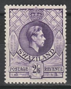 SWAZILAND 1938 KGVI 2/6 PERF 13.5 X 13 MNH **