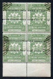 North Borneo SG84 2 dollars Green Block TRIPLED Perfed CTO