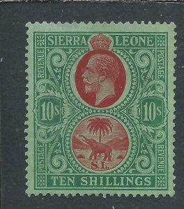 SIERRA LEONE 1921-27 10s RED & GREEN/GREEN MM SG 146 CAT £170