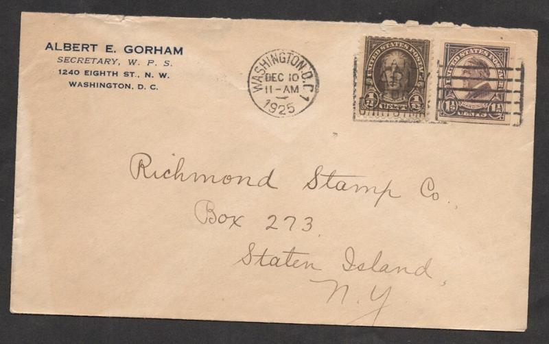 US#611 & #576 - On Cover from A. Gorham; Sec. of The Wash. Phil. Soc.