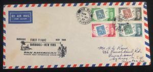 1957 Barbados Fiesta Flight Airmail Cover FFC To Sydney Australia Via NY USA