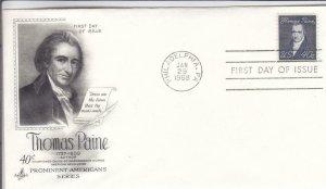 1968, 40c Thomas Paine, Artcraft, FDC (D15207)