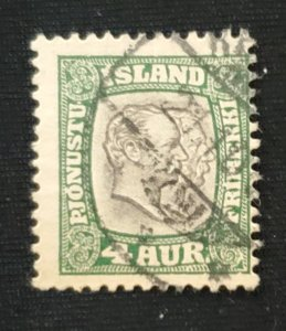 Iceland O32, 1907 Christan and Frederick, Cat. value - $11.50