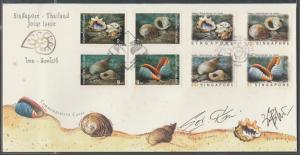 1997 Singapore-Thailand Joint Issue affixed with matching set of stamps