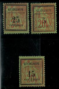 Guadeloupe 1889 SC 3-5 Mint SCV $70.00 Set