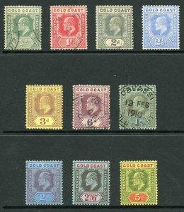 Gold Coast SG59/68 1907-13 KEVII Wmk Mult Crown CA Set of 10 Mixed