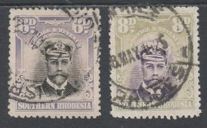 SOUTHERN RHODESIA 1924 KGV ADMIRAL 6D AND 8D USED