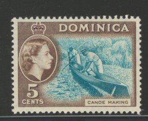 Dominica 1957 Queen Elizabeth II & Canoe Making 5c Scott # 158 MH