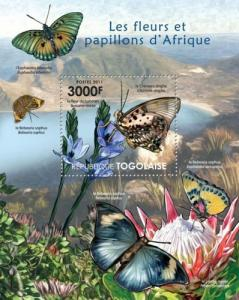 TOGO 2011 SHEET FLOWERS BUTTERFLIES INSECTS tg11421b