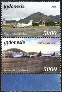 Indonesia. 2018. Airplanes, airports. MNH.