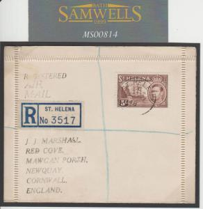 MS814 1948 ST HELENA Registered 5s High Value SUPERB Lettercard GB Cornwall