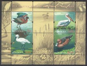 Moldova Ibis Pelican Spoonbill Duck Endangered Birds MS MI#Block 52