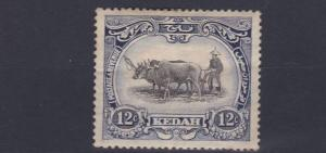 KEDAH  1922 - 40         S G  58   12C BLACK INDIGO   MH  TONED