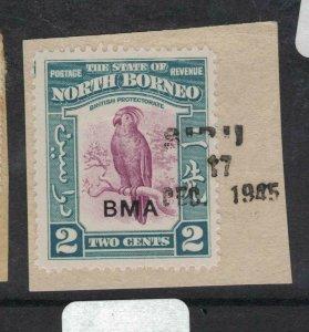 North Borneo SC 2c BMA Bird Sibu 1945 Cancel On Piece VFU (5dxo)