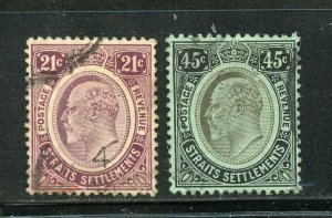 STRAITS SETTLEMENTS SINGAPORE SC# 147-148 FINELY USED AS SHOWN