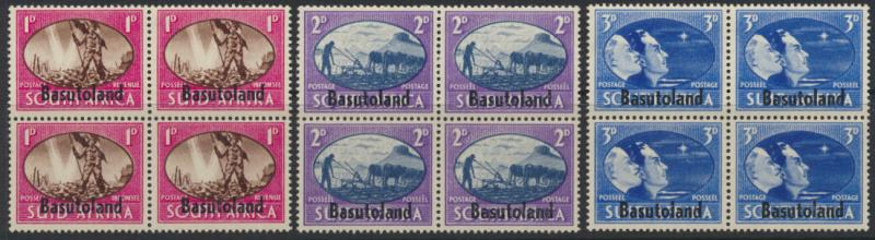 Basutoland SG 29 / 30 / 31 Blocks of 4  see details Mint Pair OPT  - Victory