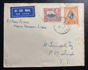 1936 Upland Kenya First Flight Airmail Cover To Lindi Tanganyika
