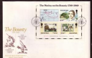Isle of Man Sc 394 1989 Mutiny Bounty stamp sheet FDC