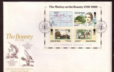 Isle of Man Sc 394 1989 Mutiny Bounty stamp sheet FDC