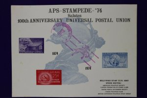 APS STAMPEDE 1974 UPU Hollywood stamp club US airmail reprint Souvenir card page
