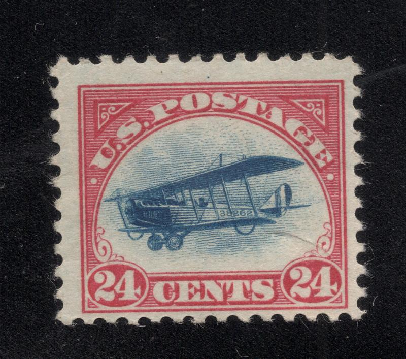 US # C3 Carmine Rose & Blue - 24 Cent Air Post Stamp - O.G. - N.H. - Flaw*