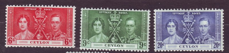 J23637 JLstamps 1937 ceylon set mh #275-7 coronation