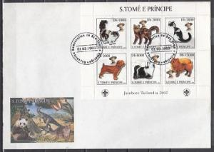 St. Thomas, Scott cat. 1501. Cats & Dogs sheet with B. Powell. First day cover.