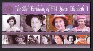 Tristan da Cunha 80th Birthday of HM Queen Elizabeth II MS SG#MS864 CV£10+