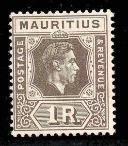 Mauritius 1938 KGVI 1R drab SG 260c mint CV £55