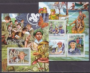 Central Africa, 2011 issue. Scouting sheet of 3 & s/sheet. ^