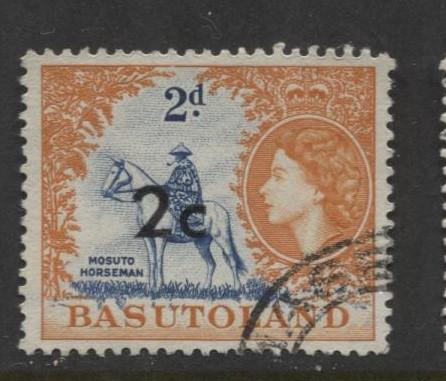 Basutoland -Scott 63-Surcharge New Value -1961-Used -Single 2c on a 2d Stamp