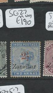 ZANZIBAR  (P0710B) QV 2 1/2A/2A ON INDIA SG 27  MOG