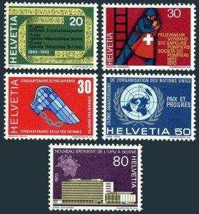 Switzerland 510-514,MNH.Mi 918-922. Events 1970.Telegraph,Firemen,UN,UPU.