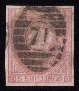 Great Britain Sc #57b (Sg 127a) Used VarietyError Imperforate 5 Shilling  F-VF