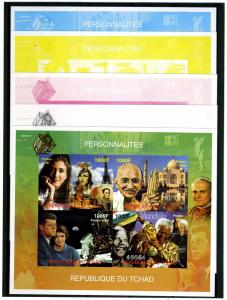 Chad 2008 POPE KENNEDY MANDELA GANDHI (4) Color proofs+original VF