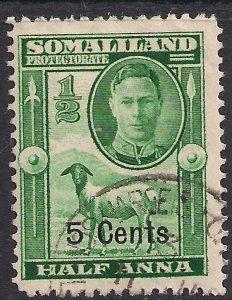 Somaliland 1951 KGV1 5ct on 1/2 Annas Green used SG 125 ( K580 )