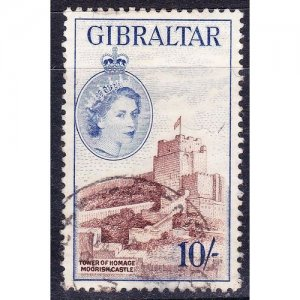 GIBRALTAR 1953 10/- Reddish-Brown & Ultramarine SG157 Used