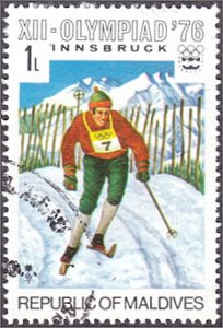 Maldive Islands # 613 used ~ 1 l Olympics - Skiing