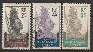 Gabon 1910 Sc 34-6 used