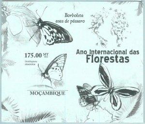 A1276 - MOZAMBIQUE, ERROR, IMPERF, Souvenir sheet: 2011, Butterflies, Forests