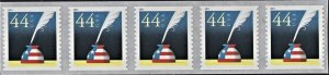 US 4496 MNH VF 44 Cent Quill and Inkwell Coil Strip of 5 Self Adhesive