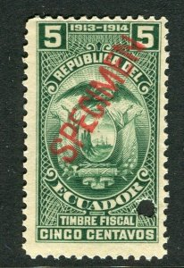 ECUADOR; Early 1900s fine Fiscal issue Mint MNH unmounted SPECIMEN 5c.