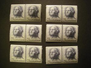 Scott 1229a, 5c Washington, Line Pair, MNH, tagged BEAUTY
