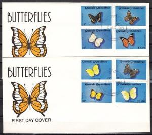 Grenada, Gr., Scott cat. 1088-1095. Butterfly issue. 2 First day covers.
