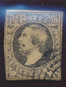 Luxembourg Stamp Scott #1, Used, Four Small Margins, Probable Fake - Free U.S...