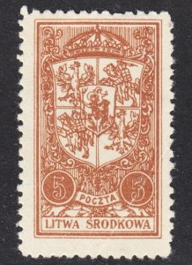 Central Lithuania Scott 39 UNLISTED perf 11 3/4 Fine unused no gum.