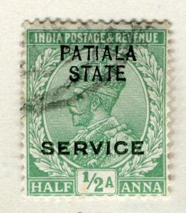 INDIA PATIALA;  1913-26 early GV issue fine used 1/2a. value